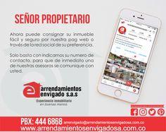 Señor propietario! Cada vez es más fácil consignar su propiedad con nosotros. Sólo basta con un click.  Conoce más en www.arrendamientosenvigadosa.com.co