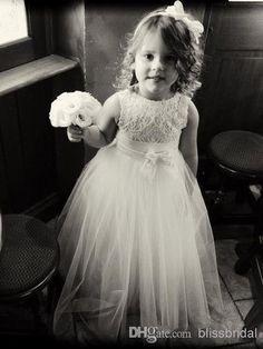 Excellent Best Selling Bateau Flower Girls Dress Princess Sleeveless Floor Length Sash Applique Ruffle Lace Flower Girls Dresses 2014