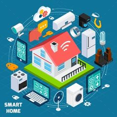 Smart Home Lot Isometric Concept Banner