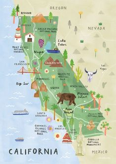California Illustrated Map - California Print - California Map Poster I'm from Stevinson, CA. Here is where my family owns their dairy. Growing up on a dairy is why I've acquired my love for dairy cattle and hate for milk! West Coast Usa, West Usa, West Coast Road Trip, Pacific Coast Highway, Road Trip Usa, Highway 1 Roadtrip, California Vacation, California Coast, California Dreamin'