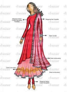 Buy online Salwar Kameez for women at Cbazaar for weddings, festivals, and parties. Explore our collection of Salwar suits with the latest designs. Indian Fashion, Fashion Art, Fashion Models, Fashion Design Drawings, Fashion Sketches, Fashion Sketchbook, Dress Illustration, Illustration Fashion, Illustration Sketches