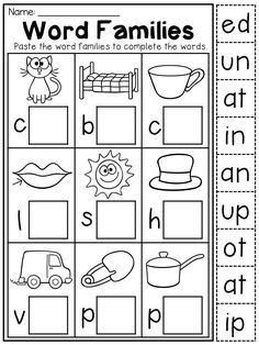 CVC worksheet for kindergarten. Students cut the word family endings and paste them next to its matching picture. English Worksheets For Kindergarten, Summer Worksheets, Literacy Worksheets, Kindergarten Literacy, Vowel Worksheets, Kindergarten Pictures, Cut And Paste Worksheets, Kindergarten Language Arts, Literacy Centers
