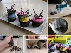 The cutest cupcakes! How to make chocolate butterflies to put on your cupcake. So sweet =) Decoration Patisserie, Dessert Decoration, Food Cakes, Cake Decorating Tips, Cookie Decorating, Fun Cupcakes, Cupcake Cakes, Cupcake Toppers, Decorate Cupcakes