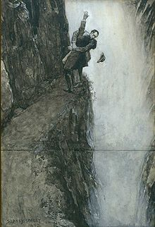Holmes and Moriarty fight to the death at Reichenbach Falls