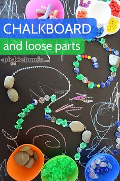 DIY table top chalkboard combined with loose parts for lots of creativity!
