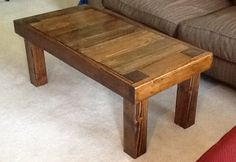 Pieced Top Coffee Table in Early American stain. Solid Wood Furniture, Dining Furniture, Rustic Furniture, Cool Furniture, Solid Wood Coffee Table, Coffee Tables, Woodworking Projects Diy, Wood Projects, Garden Benches