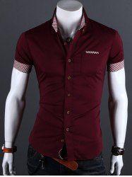 Turn-Down cuello camisa a cuadros de manga corta del ribete para los hombres