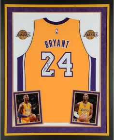 e5bb07a7fd8 Kobe Bryant Los Angeles Lakers Deluxe Framed Autographed Yellow Swingman  Jersey with Kobe on Back - Panini Authentic