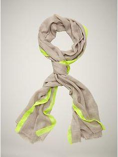Neon border scarf, $29.95