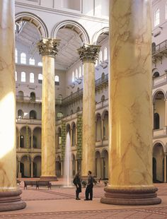 MONUMENTAL COLUMNS HANDLED MONUMENTALLY WELL. The eight massive Corinthian columns at the National Building Museum in Washington, D.C., are among the largest interior columns in the world: 75 ft. high and 8 ft. in dia., the columns have a brick core (over 70,000 bricks each!) covered with stucco.