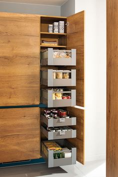 Place there !: Kitchen by Schmidt Kitchens 48 surprising small kitchen design ideas and decor 20 design ideas The roaster kitchen series in the color oyster shell. A modern classic of a … Recycling boxes as kitchen shelves. Kitchen Soffit, Kitchen Pantry Cabinets, Kitchen Cabinet Storage, Storage Cabinets, Pantry Design, Cabinet Design, Modern Kitchen Design, Interior Design Kitchen, Modern Cabinets