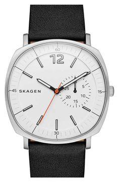 Skagen 'Rungsted' Leather Strap Watch, 40mm