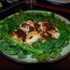 Steamed Chilean sea bass with black bean sauce and Chinese broccoli