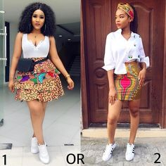 1 or Pick your style! 👏👏 🔥 and 🔥serving hot Weekend Vibes in White shirt , Ankara skirt and sneakers! Latest Ankara Short Gown, African Dresses For Kids, Ankara Short Gown Styles, African Wear Dresses, Short Gowns, African Inspired Fashion, Latest African Fashion Dresses, African Print Fashion, African Attire