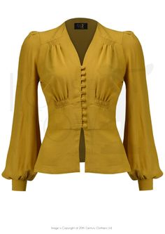 1930s Style Elsie Button Blouse - mustard crepe
