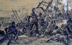 """D. JOAO I (1357-1433) – """" O de Boa Memória"""" – CONQUISTA DE CEUTA (Azulejos da Estação Ferroviária de S. Bento – Porto – Portugal – de JORGE COLAÇO."""