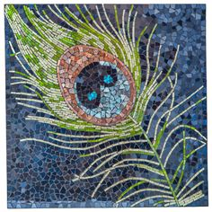 Peacock Feather Mosaic Glass Tile Wall Art | 23.5 inches