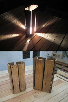 This original floor lamp is made with an upcycled wooden pallet. An ecological material luminaire that gives a sifted atmosphere. Made by Anthony Heraud who realize different kinds of furniture and accessories with recycled pallets!      Source: Anthony Heraud Design website ! #Concept #Diylighting #Floorlamp #Handmadelighting #Lamp #Lighting #Lightingdesign #Recycle #Woodlamp #Woodwork #Woodworking