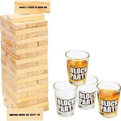 """The Block Party Game is a party drinking game that will have you laughing and strategizing through the night. Players remove and replace blocks, following the instructions, until the stack falls. The last player remaining who has not knocked the stack down on their turn wins. Let the block party begin! Features 30 instruction blocks, 30 unmarked blocks and 4 shot glasses. Stack measures 2-3/4"""" x 8"""" x 2-3/4"""" when fully assembled. A party drinking game that will have you laughing through the night Drinking Jenga, Adult Drinking Games, Block Party Games, Adult Party Games, Stack Game, Hand Games, Novelty Gifts, The Ordinary, Party Supplies"""
