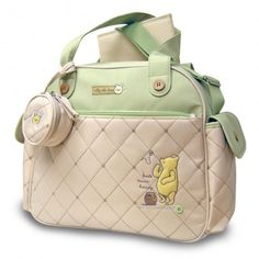 Classic Pooh Quilted Over-Nighter Diaper Bag  I dont normally like characters or…