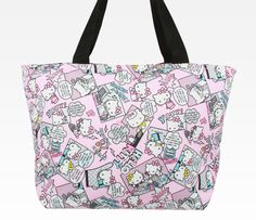 Hello Kitty Padded Tote Bag: Pop Art Pink