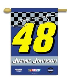 NASCAR Jimmie Johnson #48 2-Sided 28-by-40-Inch Banner with Pole Sleeve by BSI. $19.91. Support your favorite race team by hanging up this two-sided premium 2-sided banner. This 28-inch x 48-inch banner is made of durable, heavy-duty 150-denier polyester and has a 1.5-inch pole sleeve so it is easy to hang. The officially licensed banner is brightly decorated in the team colors and proudly displays the official team graphics on both sides.