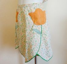Spring Tulips Cotton Floral Vintage 1930's Kitchen Apron w/ Rick Rack from Vanity Vintage Flair