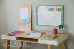 Desktop with Storage Compartments - Build-Your-Own-Desk Collection (Ana White) Sand Projects, Diy Projects Plans, Woodworking Projects, Bookshelf Plans, Desk Plans, Ana White, Build A Desktop, Diy Desktop, Home Office