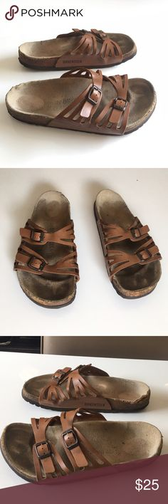 Authentic Birkenstock brown leather sandals 8.5 W Authentic Birkenstock brown leather sandals sz 8/8.5 Wide loved Condition sold as is final clearance price please no offers Birkenstock Shoes Sandals