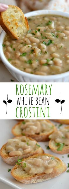 Easy party appetizer made with rosemary white beans and. Easy party appetizer made with rosemary white beans and garlic. Side Dishes Easy, Side Dish Recipes, Soup Recipes, Vegetarian Recipes, Cooking Recipes, Healthy Recipes, Cooking Pork, Cooking Herbs, Gourmet