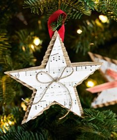 Homemade Christmas Star Ornament - DIY Christmas Ornaments - Good Housekeeping - Make with Bazzill Antique Paper Christmas Crafts For Adults, Homemade Christmas Decorations, Christmas Ornaments To Make, Noel Christmas, Rustic Christmas, Christmas Projects, Holiday Crafts, Holiday Tree, Homemade Ornaments