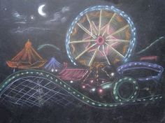 Creator's Joy: carnival in chalk pastel on black paper