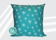 Turquoise Dandelion Pillow Cover - 20 x 20 and More Sizes - Zipper Closure