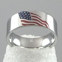 American USA Flag Americana Stainless Steel Silver Ring USA Seller Size 11 12 #Band