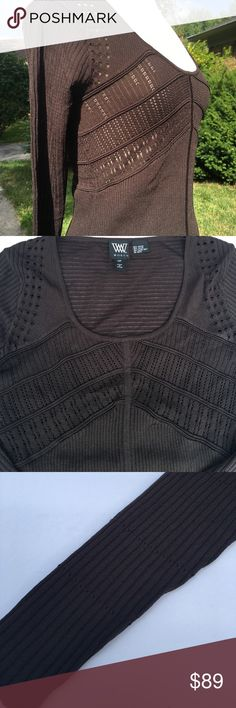W Worth dark brown ribbed long sleeve scoop neck Gorgeous! Scoop neckline, long sleeve ribbed with open detail. 65% rayon, 35% nylon, dry clean W by Worth Sweaters Crew & Scoop Necks