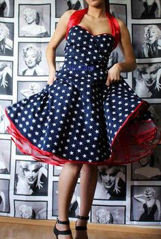 50s rockabilly...pin up...petticoat dress in Navy with white stars