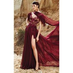 MNM Couture 2357 Red Carpet Dress Long V-Neck Short Sleeve ($1,400) ❤ liked on Polyvore featuring dresses, gowns, burgundy, formal dresses, burgundy long dress, red carpet dresses, red gown, long evening dresses and red ball gown