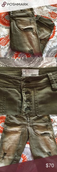 Free People mountaineer distressed olive jeans Heavily distressed mountaineer jeans in olive green. Size 0, but can fit a 2, as they are a bit looser. Button fly, cute pockets, sexy fit. Worn a handful of times, EUC, no (unintentional) rips holes stains or tears. Free People Pants Straight Leg