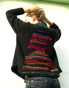 Saori weaving wool coat