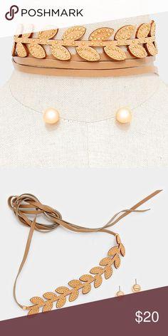 """Suede Choker + Earring Set [grandavenue: 310973]  • Color : Neutral • Theme : Flower & Leaf  • Total Size : 68"""" L • Decor Size : 7.5"""" X 1""""  • Earrings Size : 0.5"""" L • Faux suede leather laurel tie wrap choker necklace Jewelry Necklaces"""