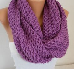 ON SALE - Violet Knit Infinity Scarf Shawl Circle Scarf Loop Scarf Glitter - Gift  - for her - fatwoman - chunky infinity scarf
