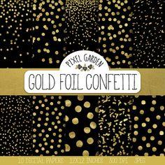 Gold Confetti Digital Paper. Black and Gold Confetti Scarpbooking Background. Galaxy Digital Paper. Metallic Christmas, New Year Patterns.