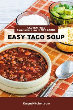 Best Soup Recipes, Chili Recipes, Great Recipes, Low Carb Taco Soup, Easy Taco Soup, Easy Kid Friendly Dinners, South Beach Diet, Pinch Of Salt, Chana Masala