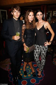 Party people: Once inside, they posed with the lady of honour at the Genetic X Liberty Ross party