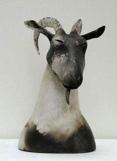 black and white - animal sculpture - Anna Noel Pottery Animals, Ceramic Animals, Clay Animals, Animals And Pets, Animal Totems, Animal Sculptures, Animal Garden Ornaments, Contemporary Ceramics, Sculpture Clay