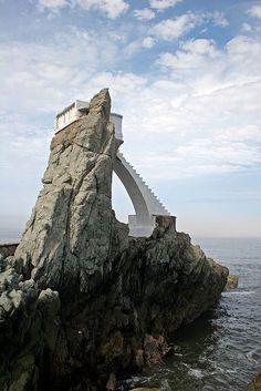 Cliff divers platform on the coast of Mazatlan, Mexico