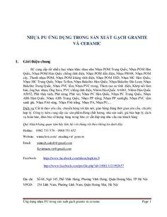 Ứng dụng nhựa PU trong sản xuất gạch granite và ceramic Page 1 NHỰA PU ỨNG DỤNG TRONG SẢN XUẤT GẠCH GRANITE VÀ CERAMIC 1. ...