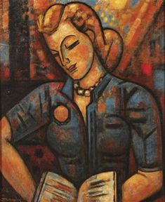 "Marcel Gromaire (1892 - 1971) - ""La liseuse"", 1958 - Oil on canvas"
