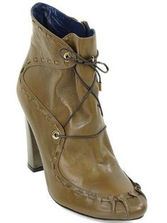 Pollini Shoes - Brown Leather Stitch Detail Ankle Boots Size 37 - #stitch, Ankle, Boots, Brown, Detail, Leather, Pollini, Shoes, size