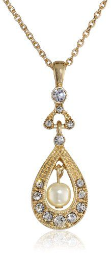 Downton Abbey Gold-Tone Crystal and Faux Pearl Pendant Necklace of 40.64-48.26cm